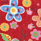 Cotton lightweight: floral on red